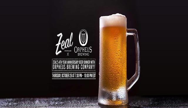 Zeal Anniversary Beer Dinner w/ Orpheus