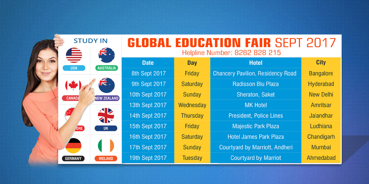 Global Education Fair in Bangalore on 8th Sept 2017