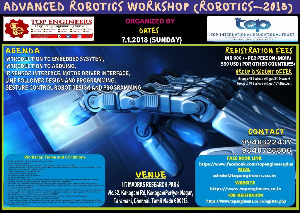 ADVANCED ROBOTICS WORKSHOP (ROBOTICS-2018)