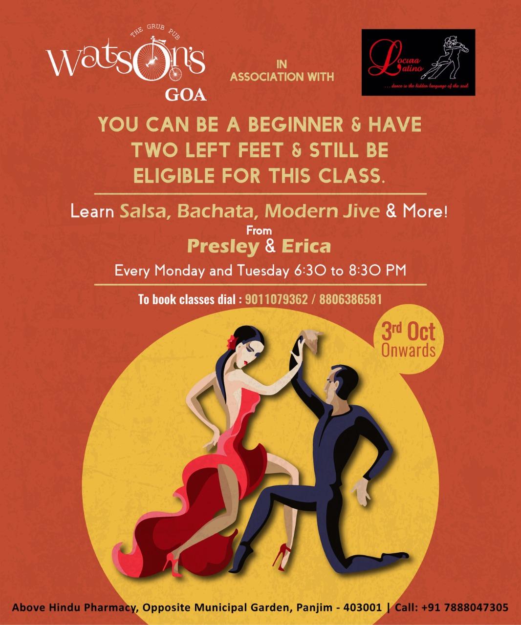 Salsa, Bachata, Modern Jive and more - Dance Class @ Watson's