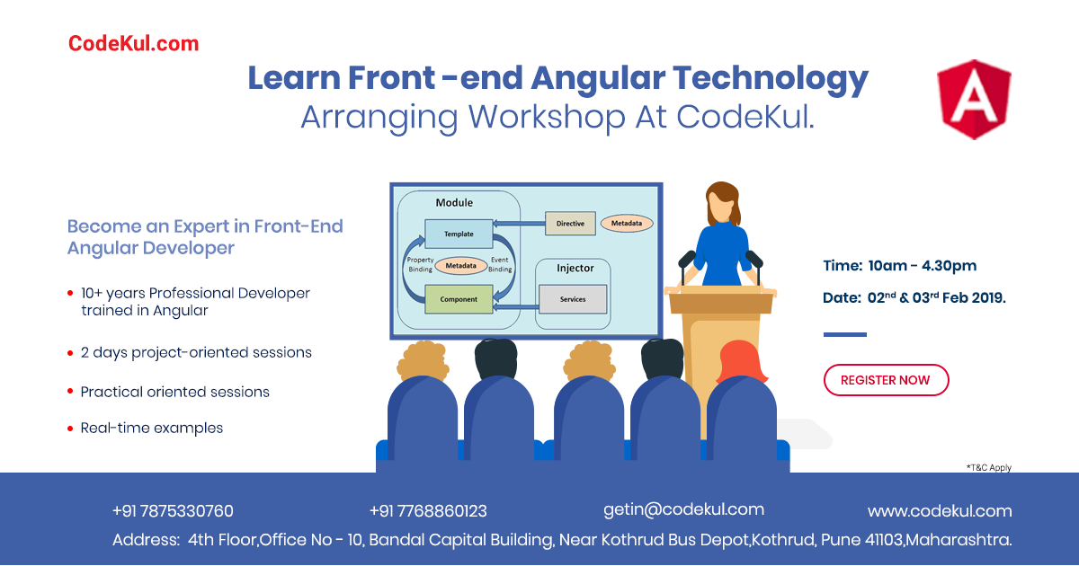 Become an Expert in Angular front End Development within 2 Days Paid Workshop.