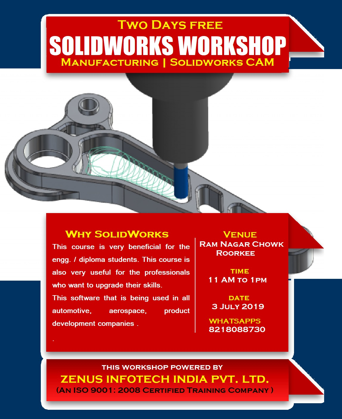 Two Day Free Workshop on SolidWorks with Certificate for Mechanical students.