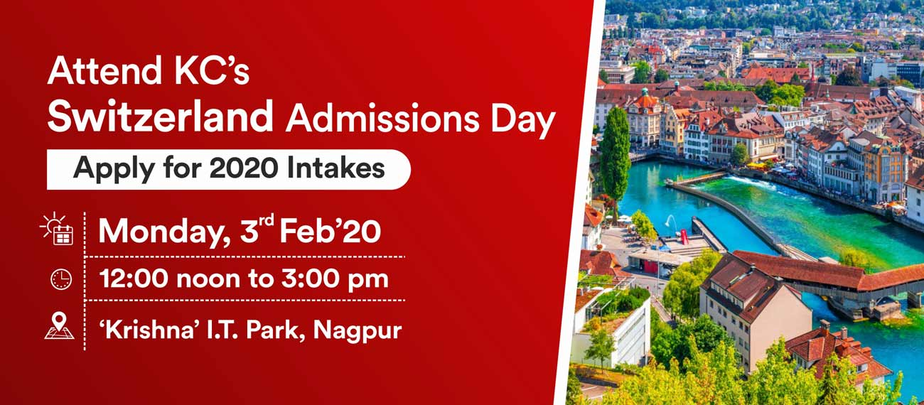 Attend Switzerland Admissions Day on Monday, 3rd Feb 20 at KC I.T Park, Nagpur