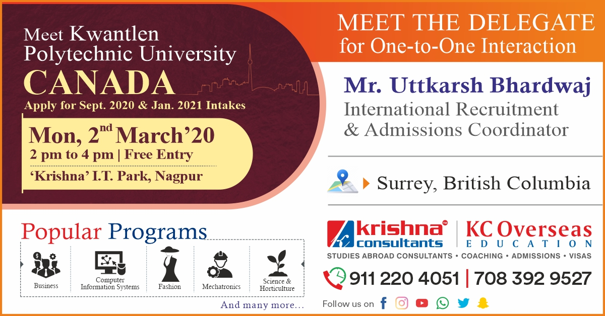 Meet & Apply to Kwantlen Polytechnic University, Canada - 2nd March 20
