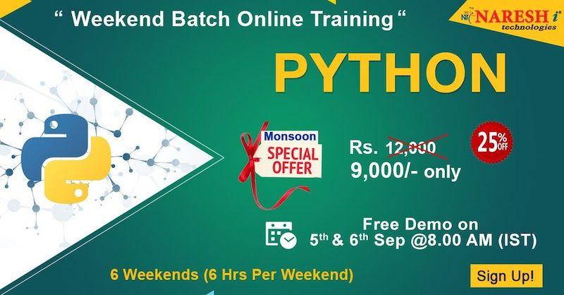 Python Weekend Batch Online Training Demo on 5th & 6th September @ 8.00 AM (IST)