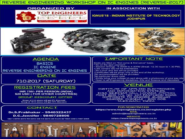 REVERSE ENGINEERING WORKSHOP ON IC ENGINES (REVERSE-2017)
