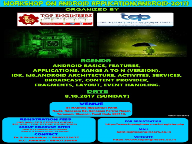 WORKSHOP ON ANDROID APPLICATION(ANDROID-2017)