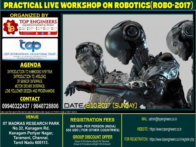 PRACTICAL LIVE WORKSHOP ON ROBOTICS(ROBO-2017)