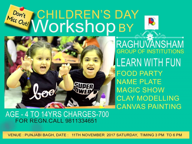 childrens day workshop at raghuvansham school of modern art