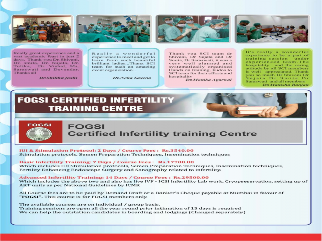 Dr Shivani Sachdev Gour - FOGSI Certified Infertility Training Centre