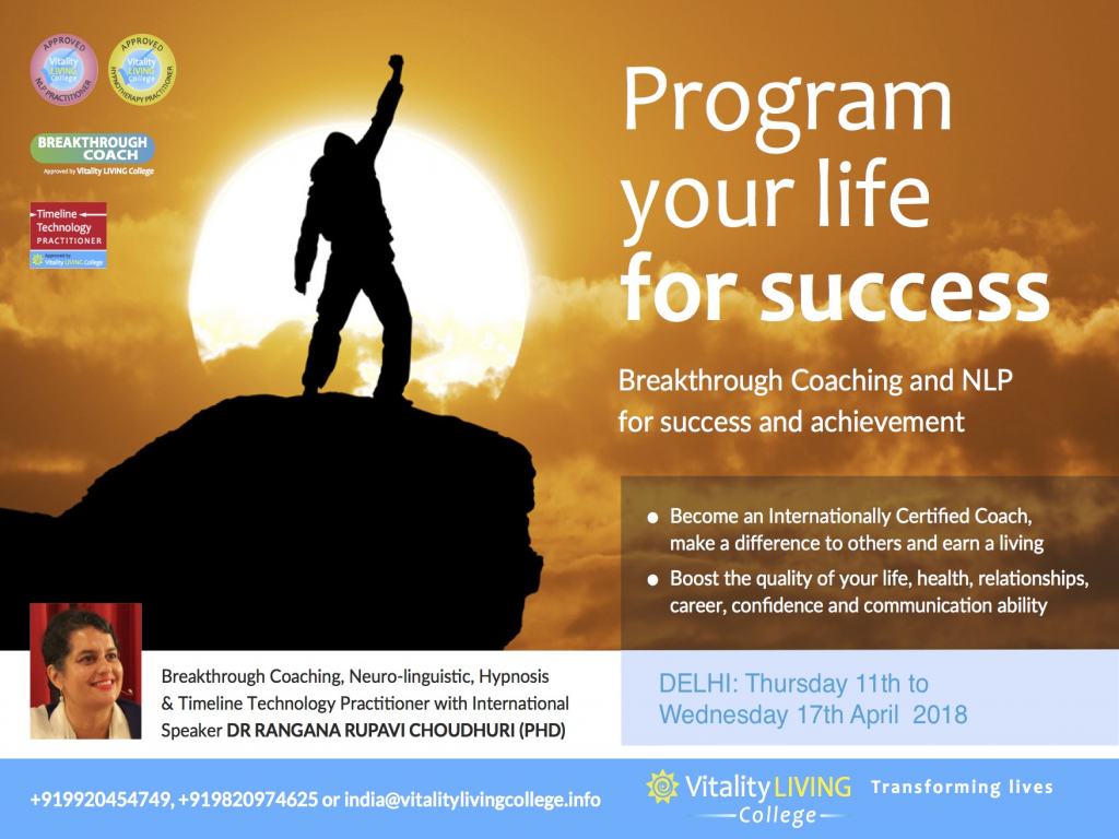 Breakthrough Coaching with NLP Practitioner Delhi 2018