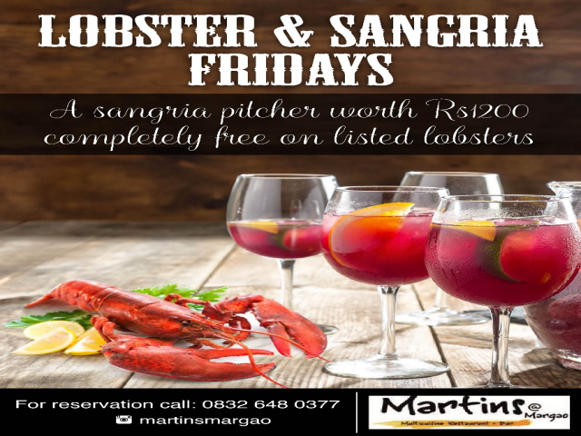 Lobsters & Sangria at Martins Restaurant, 19th Jan