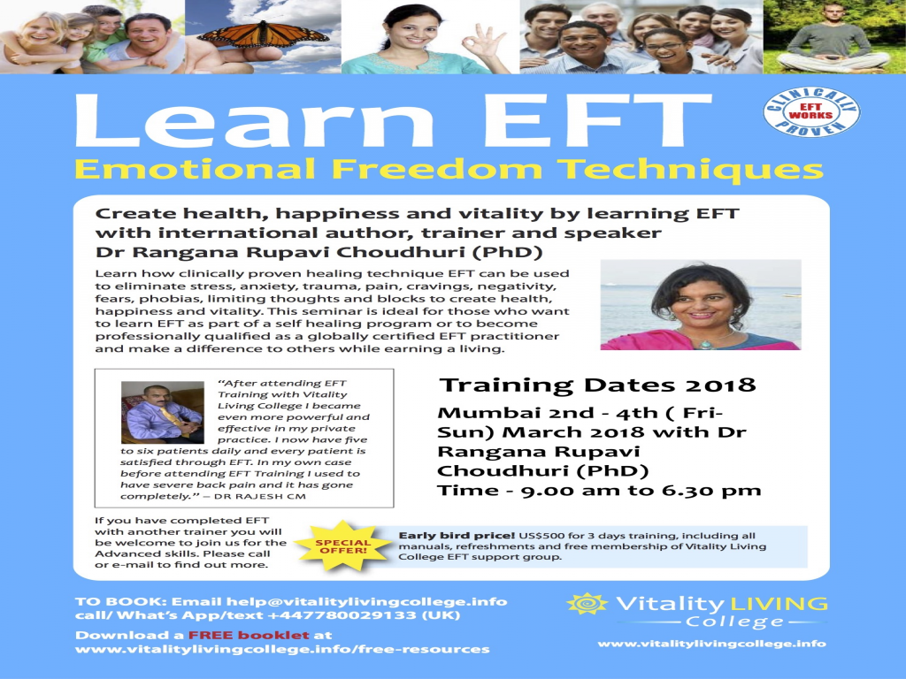Emotional Freedom Techniques (EFT) Mumbai March 2018