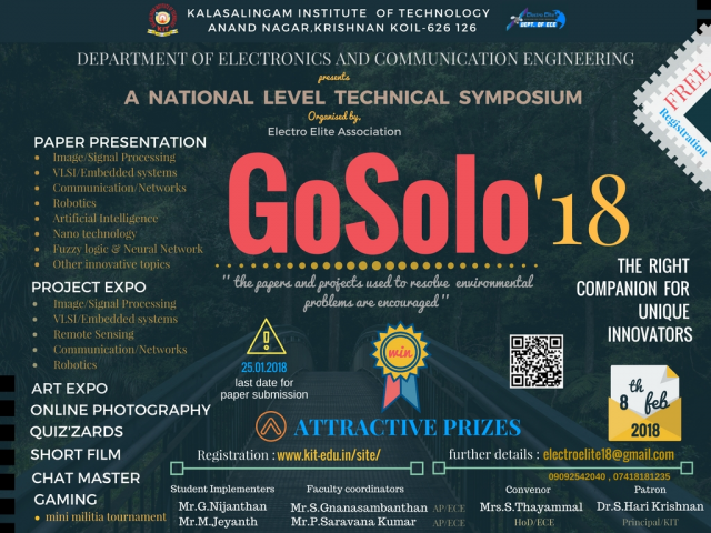 GOSOLO'18 - A NATIONAL LEVEL TECHNICAL SYMPOSIUM