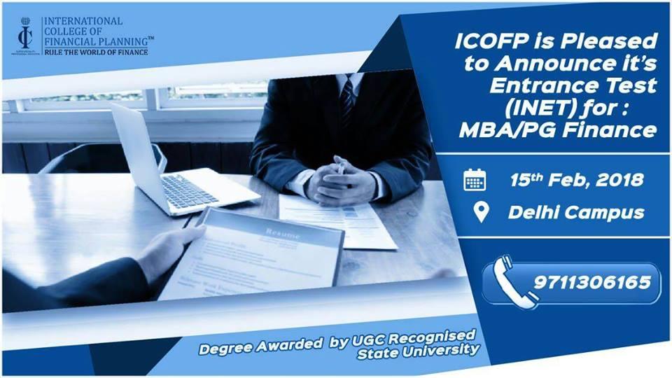 Entrance Test (INET) for MBA Finance