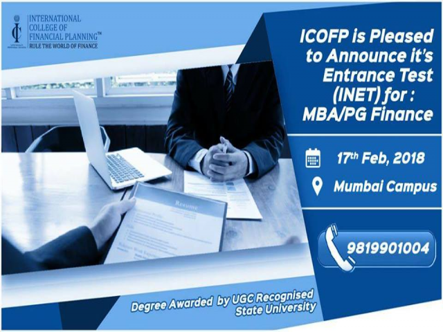 Entrance Test (INET) for MBA Finance,ICOFP