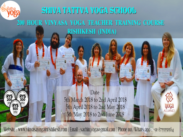 28 Days Vinyasa Yoga Teacher Training Course in Rishikesh India