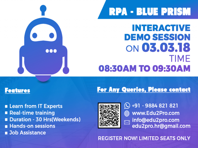 Free Interactive Session on RPA - BluePrism