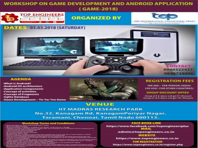 WORKSHOP ON GAME DEVELOPMENT AND ANDROID APPLICATION ( GAME-2018)