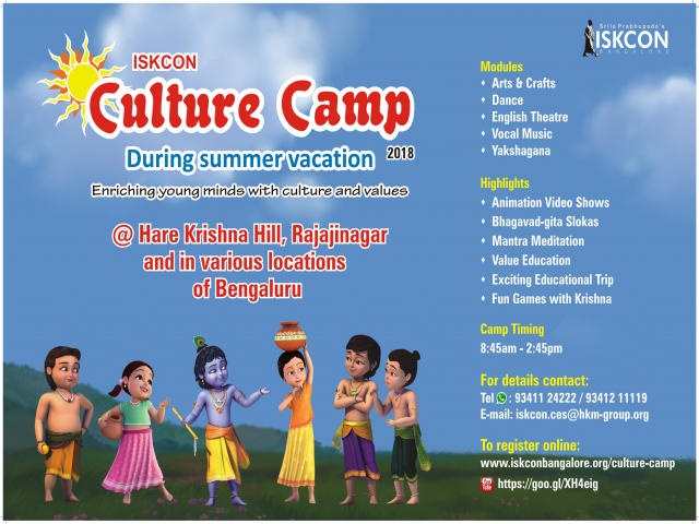 Culture Camp at ISKCON- 2018