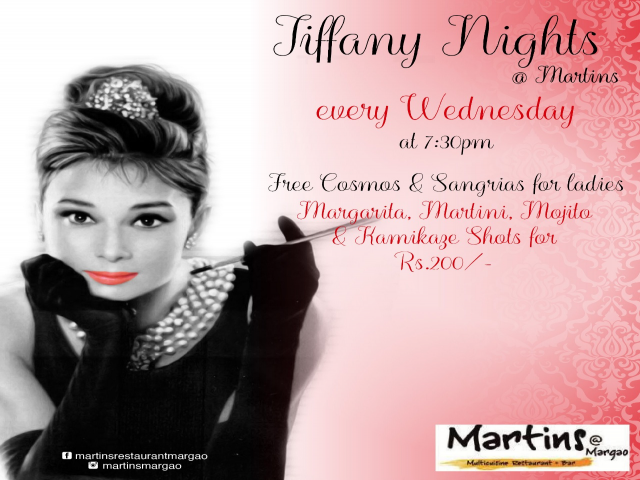 Tiffany nights Wednesday 11th April 2018