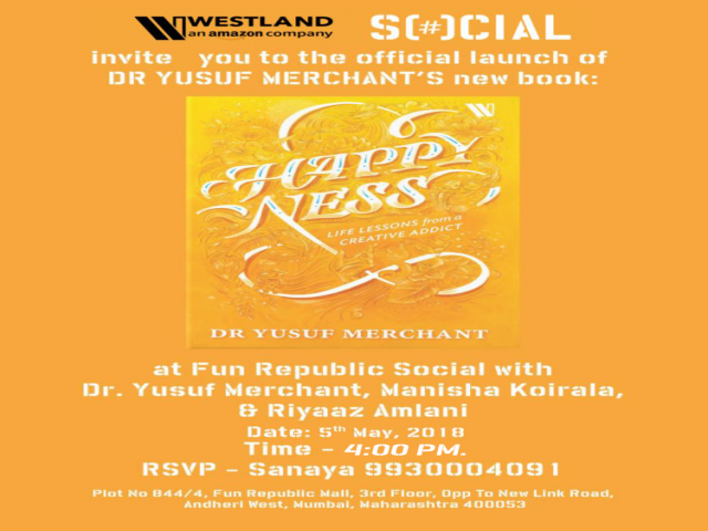 Manisha Koirala to launch Dr Yusuf Merchant new book Happyness