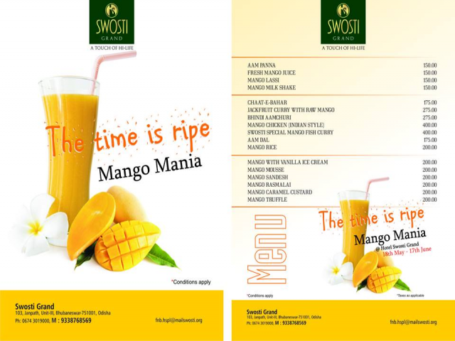 Mango Mania Festival is On Swosti Grand Hotel in Bhubaneswar