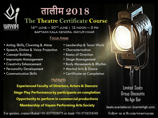 Taaleem 2018- The Theatre Certificate Course