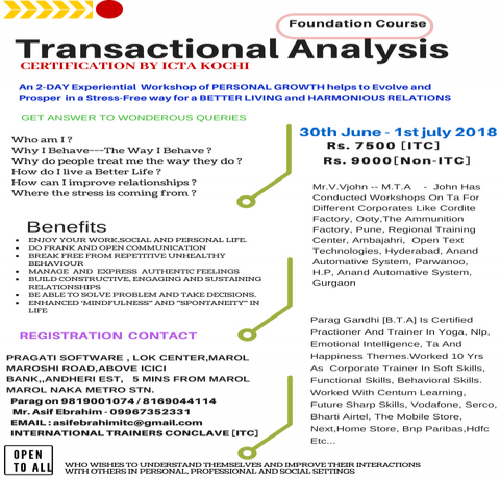 WORKSHOP ON TRANSACTIONAL ANALYSIS FOUNDATION COURSE
