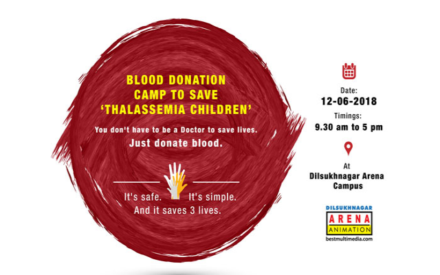 Blood Donation Camp at Arena Animation Dilsukhnagar.