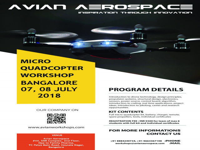Micro Quadcopter Workshop - Bangalore - 07,08 July 2018
