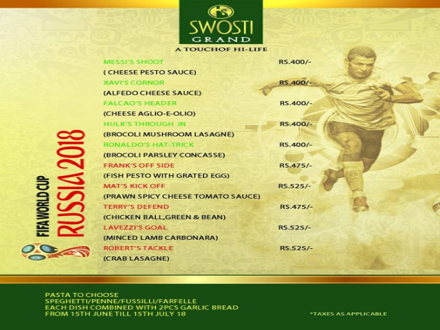 Enjoy This Fifa Fest Monsoon With Delicious Pasta at Hotels in Bhubaneswar