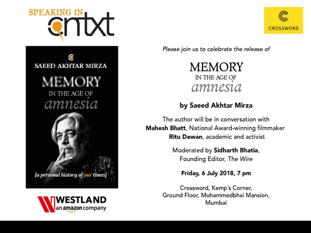 Saeed Akhtar Mirza to launch his book