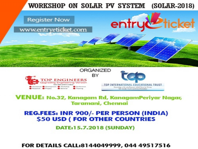 One Day Workshop on Solar PV System | Registration available on Entryeticket