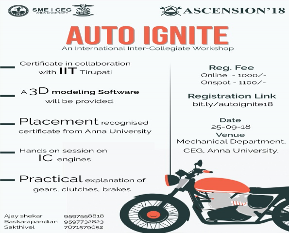 AUTO IGNITE- A Workshops on IC Engines