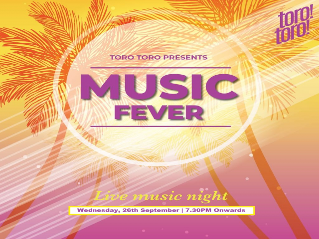 Wednesdays at TORO TORO 26th  September 2018