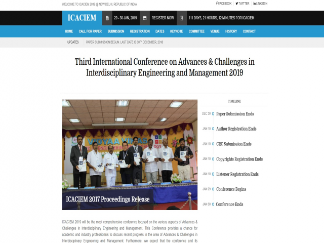 Third International Conference on Advances & Challenges in Interdisciplinary Eng