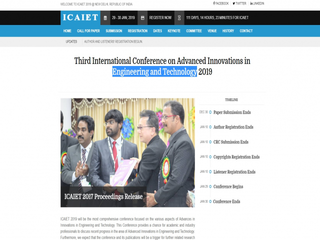 Third International Conference on Advanced Innovations in Engineering and Techno