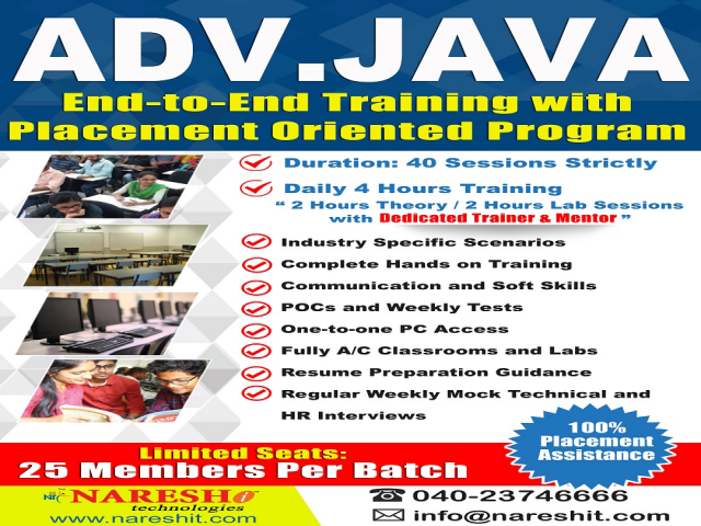 Advanced Java End to End Training with Placement Oriented Program - NareshIT