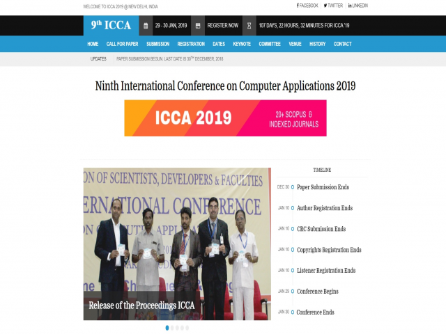 Ninth International Conference on Computer Applications 2019