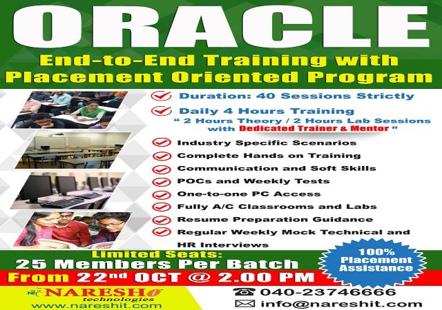 Oracle End to End Training with Placement Oriented Program - NareshIT