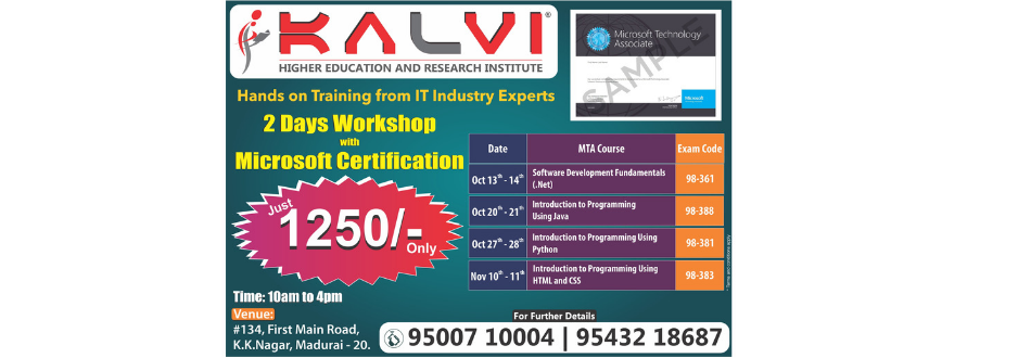 Java Workshop in Madurai