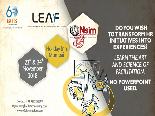 Upcoming LEAF Facilitator Workshop on 23rd and 24th November , 2018