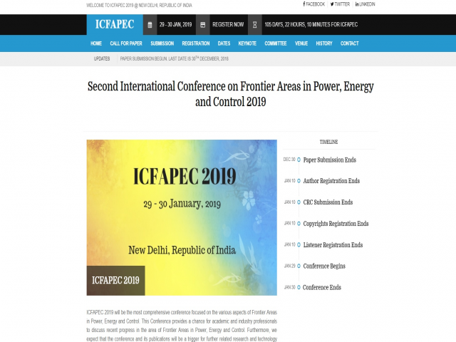 Second International Conference on Frontier Areas in Power, Energy and Control 2