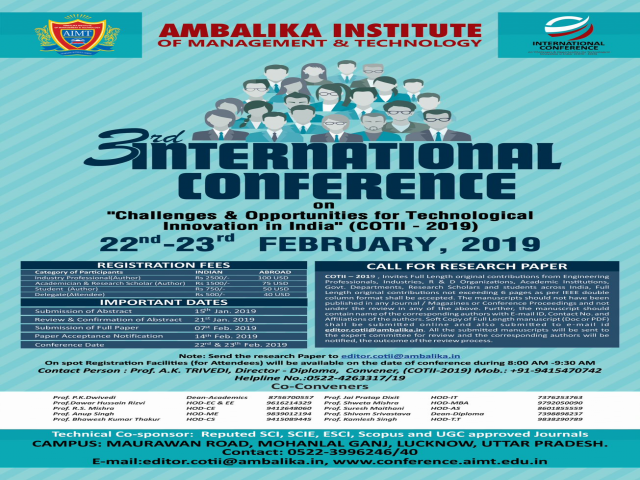 INTERNATIONAL CONFERENCE ON COTII - 2019