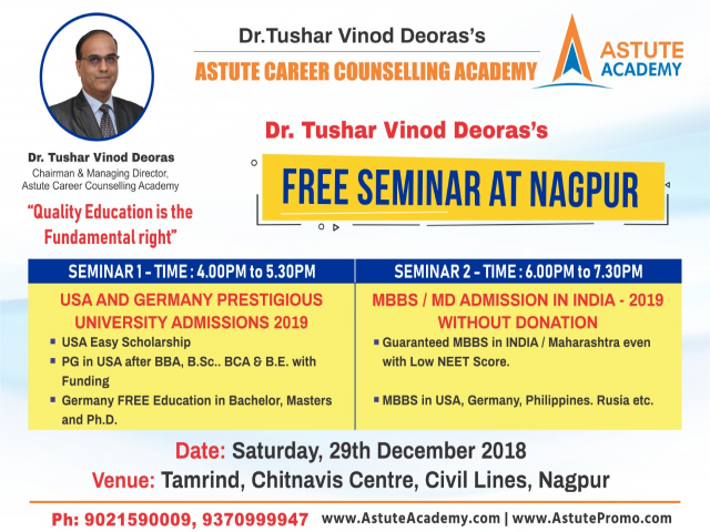 Free Seminar in Nagpur About without Donation MBBS/MD Admissions In India