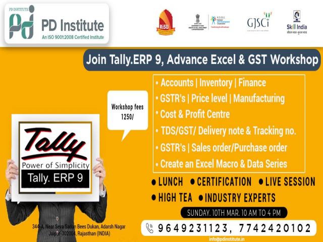 Learn & Lunch-TALLY ERP9, Adv Excel & GST Certification Workshop