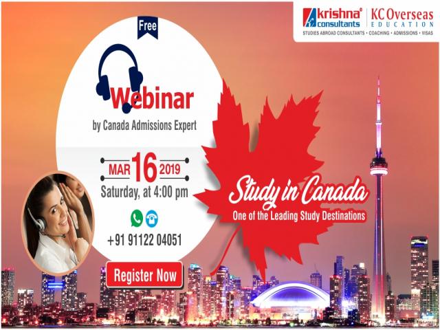 Free Webinar on Study in Canada - 16th March 2019