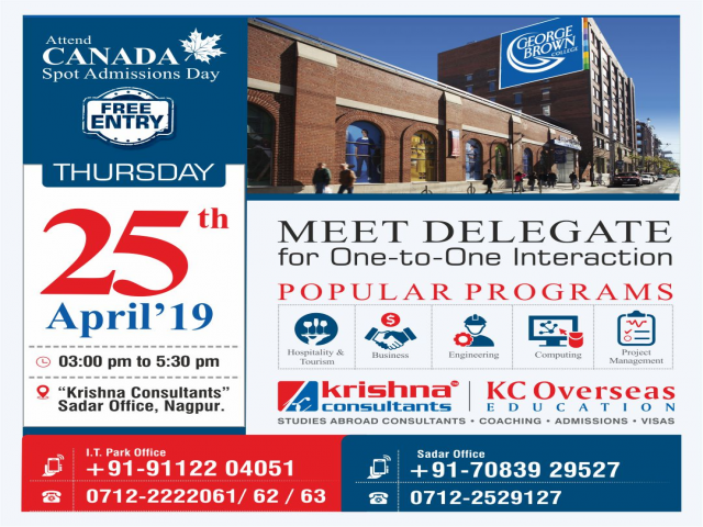 Meet George Brown College, Canada at KC Nagpur - Thursday, 25th April 2019