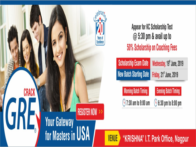 GRE Coaching in Nagpur - Join New Batch on 21st June, 2019